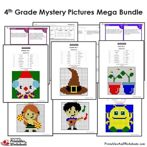 4th grade math mystery pictures coloring worksheets task cards printables worksheets
