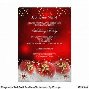 Corporate Red Gold Baubles Christmas Holiday Party Card