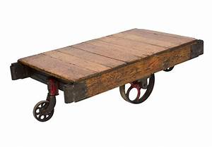 Vintage Oak Wood Factory Cart with Iron Wheels by ...