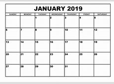 Calendar January 2019 Location Calendar Template Printable