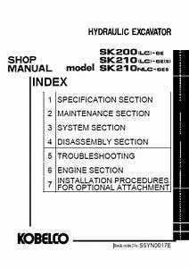 Kobelco Sk200  Sk210 Crawler Excavator Repair Manual Order