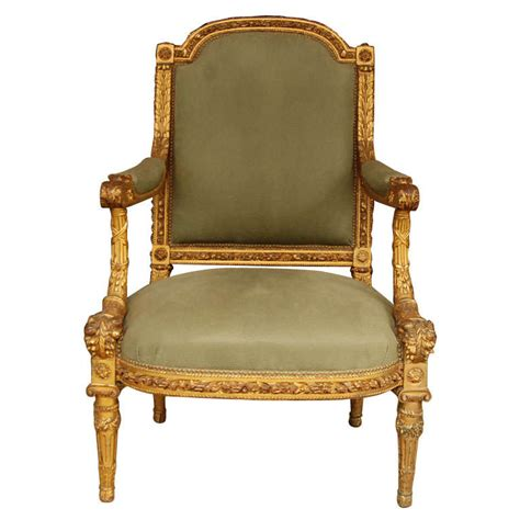 louis xvi style giltwood fauteuil for sale at 1stdibs