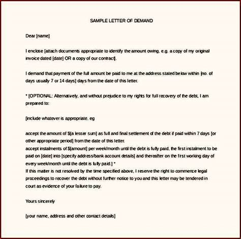 debt recovery letter  demand word format