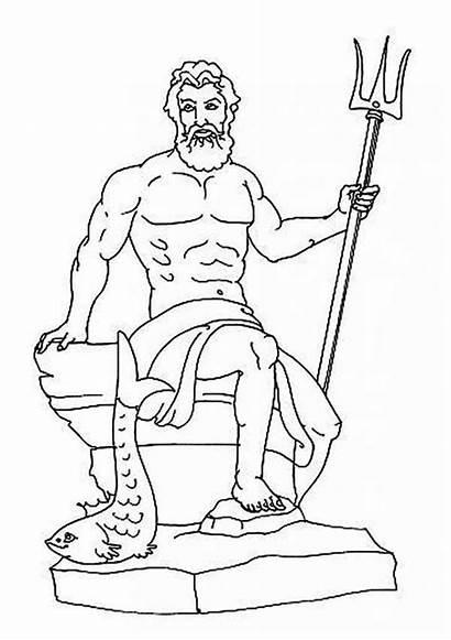 Poseidon Greek Coloring God Gods Goddesses Pages