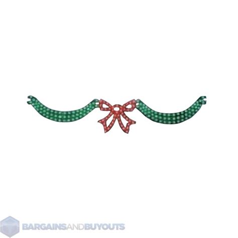 outdoor lighted swag and bow set in green 353369