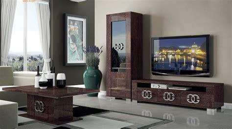 Kitchen Interior Ideas - walnut brown tv stand with side vitrine shelves hialeah florida esf prestige