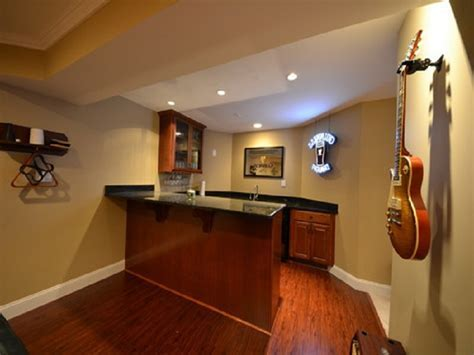Finished Basement Wet Bar Ideas With Wall Mounted Cabinet