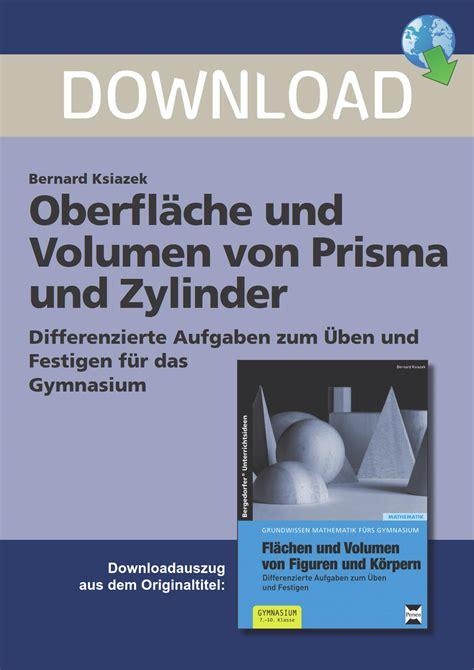oberflaeche und volumen von prisma und zylinder