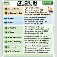 Prepositions Of Time  At On In  Woodward English