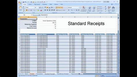 receivables reconciliation demonstration spreadsheet