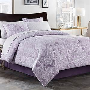 lea 6 8 piece comforter set in purple white bed bath beyond