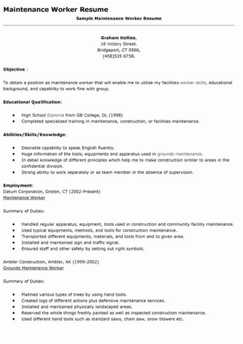 Resume For Maintenance Worker by Grounds Maintenance Worker Resume Sle Ipasphoto