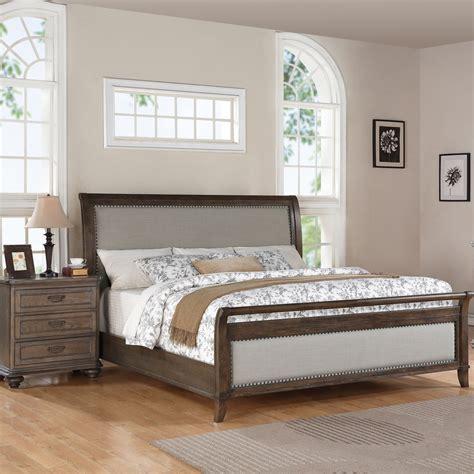 Belmeade Wood Sleigh Upholstered Bed In Old World Oak