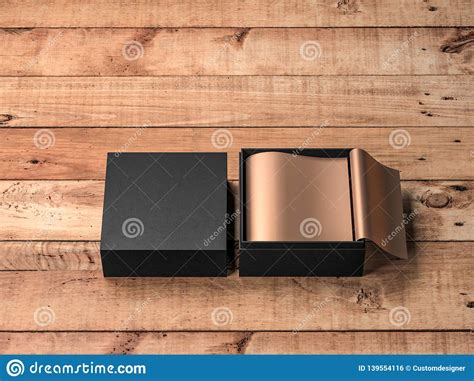 First and foremost, for a. Opened Square Black Gift Box Mockup With Golden Wrapping ...
