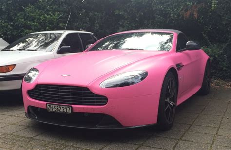 Guy Turns Up At In Pink Aston Martin Vantage