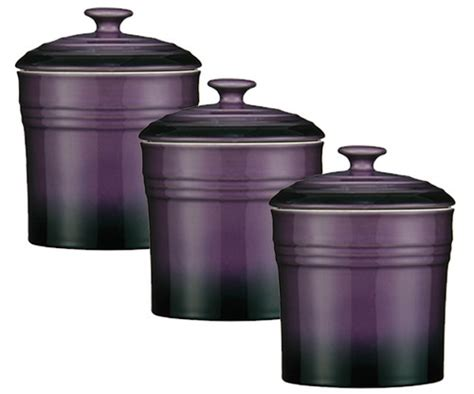 purple canisters for the kitchen purple set of 3 storage canisters tea coffee sugar jars pots stoneware ovenlove ebay
