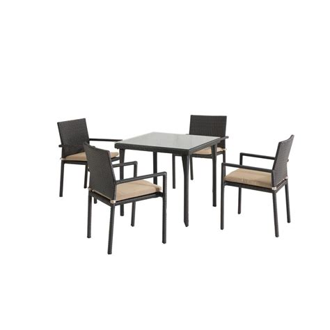 sunjoy lila 5 wicker outdoor patio dining set with