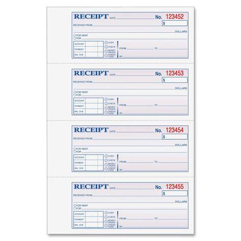 adams money rent receipt book 3 part 100 bk ld products