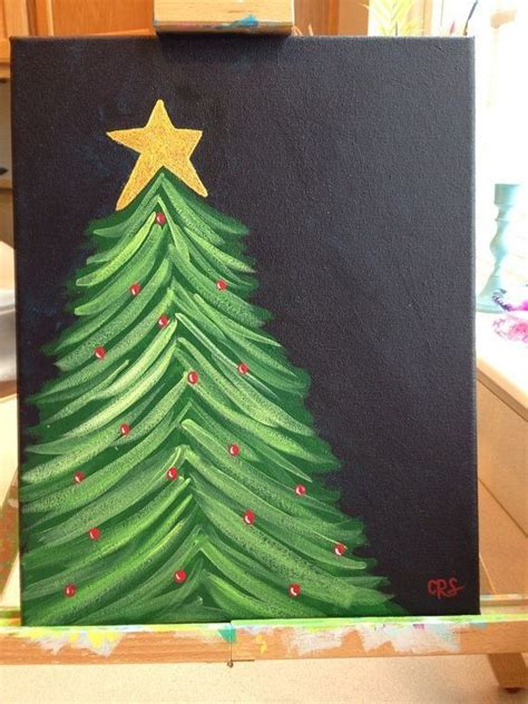 christmas tree glitter canvas painting decor