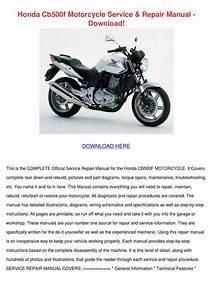 Honda Cb500f Motorcycle Service Repair Manual By