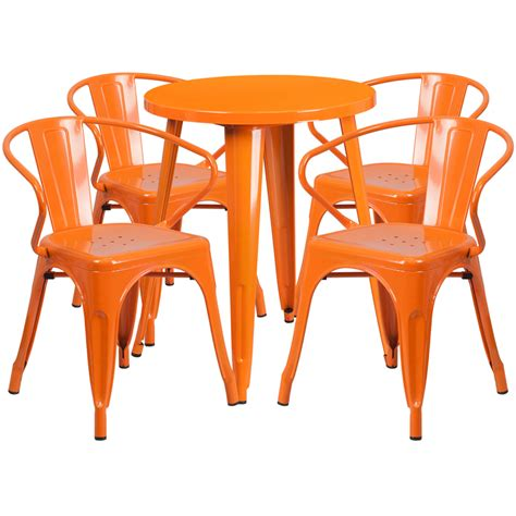 24 orange metal indoor outdoor table set with 4