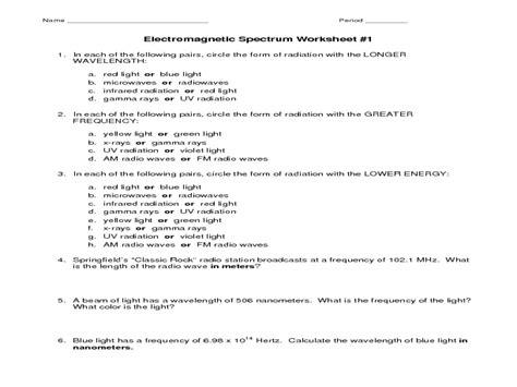worksheet electromagnetic spectrum worksheet hunterhq