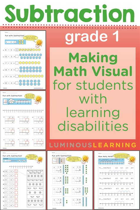 luminous learning grade 1 subtraction workbook is