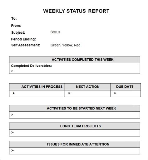 weekly status report examples  examples