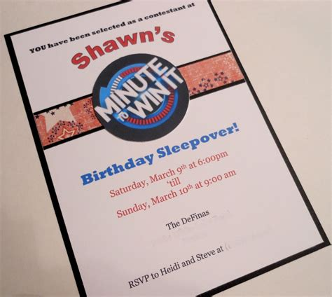 The minute to win it birthday party invitation: Heidi Scraps: Minute to Win It Birthday Party