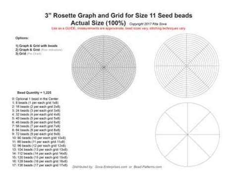 rosette graph grid  size  seed beads bead patterns