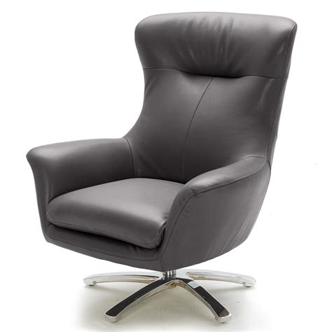 Furniture Brown Leather Swivel Chair With Steel Base by Modern Gray Leather Winston Swivel Chair With Stainless