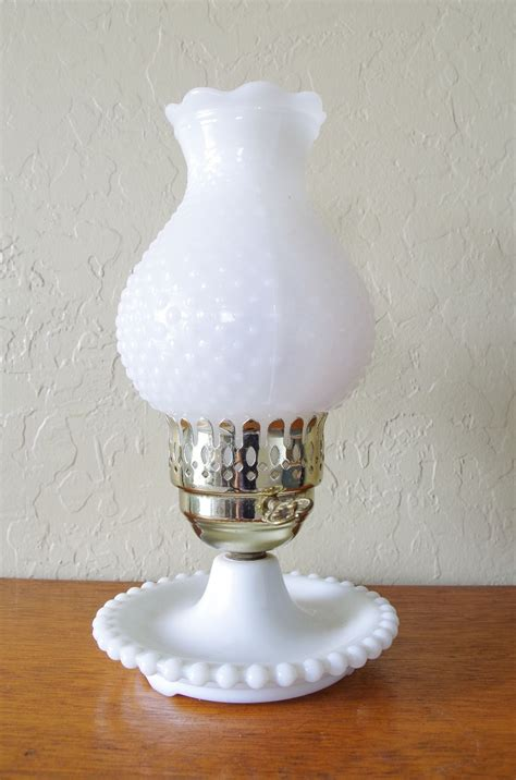 vintage white hobnail milk glass l vintage white milk glass hobnail electric table hurricane l