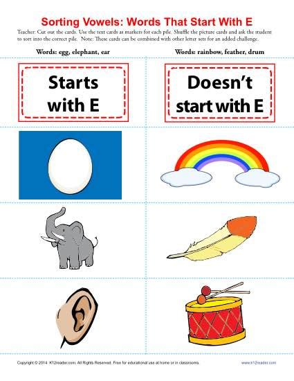 words that start with the letter e words starting with e beginning vowel worksheets 31063