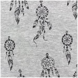 Tissu Attrape Reve : tissu sweat envers minkee attrape r ves noir gris x 10cm ~ Teatrodelosmanantiales.com Idées de Décoration