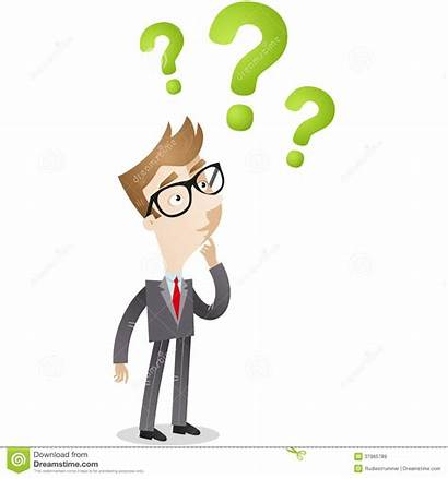 Question Clueless Clipart Marks Looking Illustration Businessman