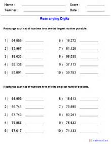 Large Numbers Place Value Worksheet for Math