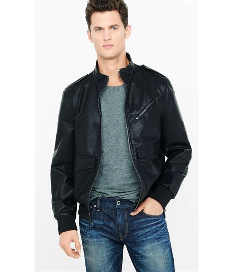 Lyst - Express (minus The) Leather Military Jacket in Black for Men
