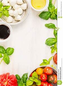 Caprese Salad Ingredients On White Wooden Background, Top