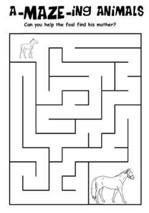 kids printable activities horse  foal maze