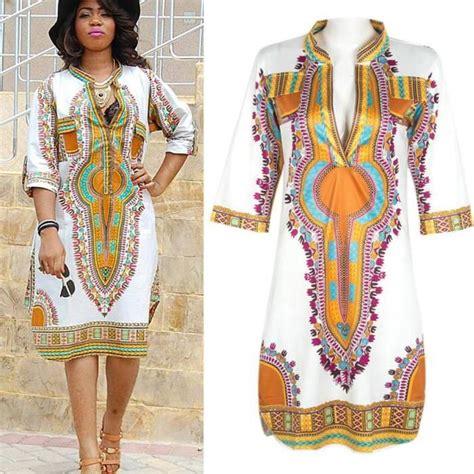 robe d 233 t 233 impression africaine sexy v neck blanc achat