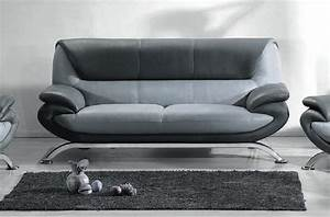 Canapé Cuir Gris Clair : canap 3 places en cuir italien sicilia gris clair et gris fonc mobilier priv ~ Teatrodelosmanantiales.com Idées de Décoration