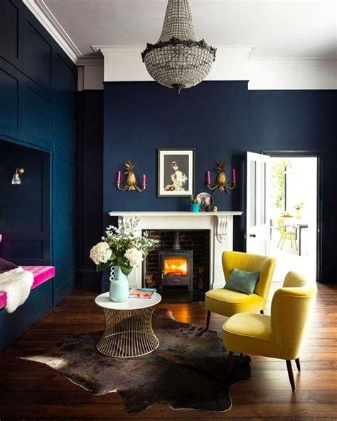 Ideas Navy Blue Walls by 16 Best Wall Painting Designs For Living Room That Will