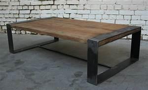 Table Basse Bois Metal : table basse r 39 tb006 giani desmet meubles indus bois m tal et cuir ~ Teatrodelosmanantiales.com Idées de Décoration