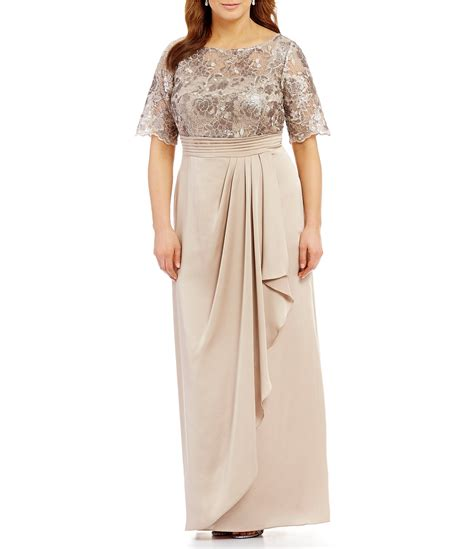 papell draped gown papell plus sequin lace draped gown dillards