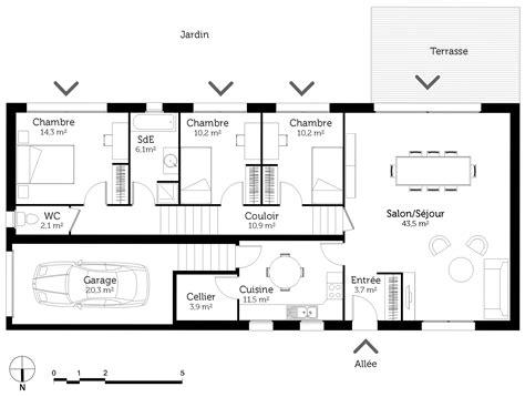 modele chambre parentale plan maison de plain pied sur terrain en pente ooreka