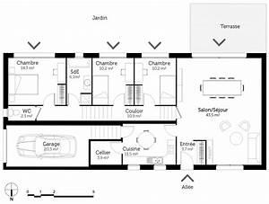 maison sur terrain rectangulaire 2 plan maison de plain With maison sur terrain rectangulaire