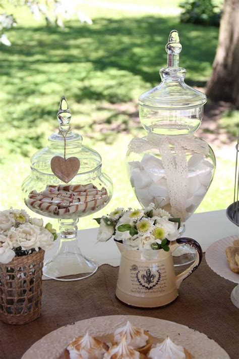 vintage shabby chic wedding kara s party ideas sweets in apothecary jars from a vintage shabby chic wedding via kara s party
