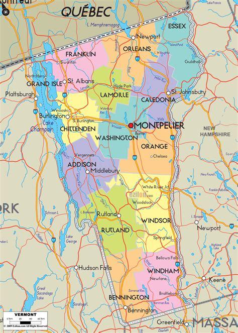 detailed political map  vermont ezilon maps