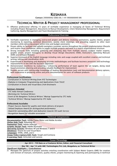Technical Resume Format by Technical Writer Sle Resumes Resume Format