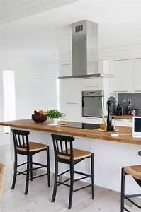 la cuisine blanche et bois en 102 photos inspirantes With cuisine blanche et plan de travail bois